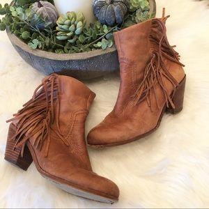 Sam Edelman Louie fringe fold congnac ankle boot